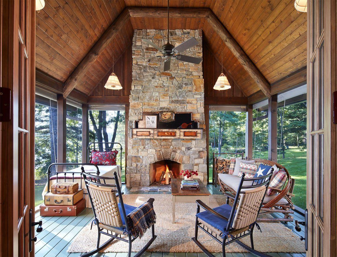 Northern Wisconsin Retreat stone fireplace