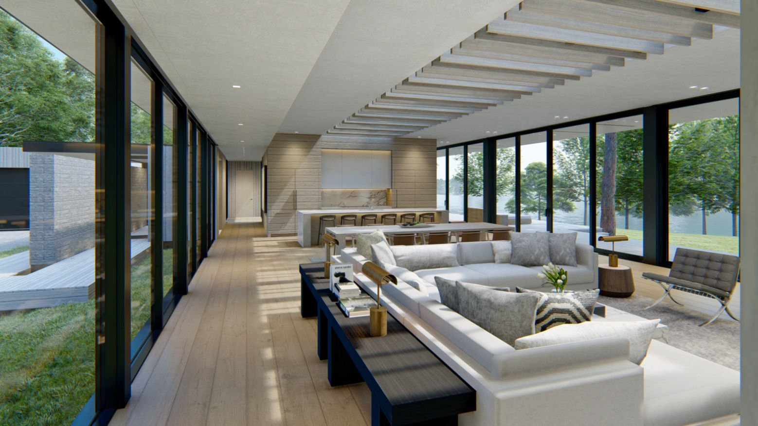 Modern Lakehouse great room rendering