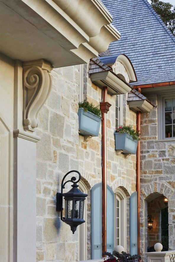 St. Paul French Country home architectural detail by Charlie & Co. Design